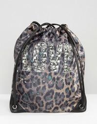 Нейлоновый рюкзак с леопардовым принтом и шнурком Love Moshino - Verde