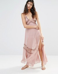 Платье-сорочка с вышивкой The Jetset Diaries Las Perlas - Розовый