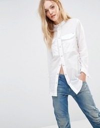 Белая рубашка бойфренда с карманами в стиле милитари G-Star Voden