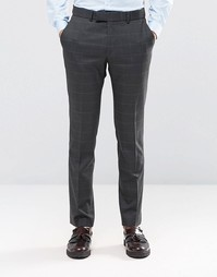 Темно-серые брюки суперзауженного кроя в клетку Ben Sherman Camden