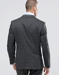 Темно-серый пиджак суперзауженного кроя в клетку Ben Sherman Camden