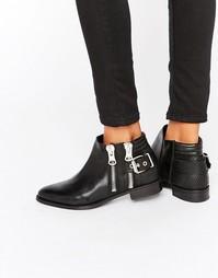 Кожаные ботинки с молниями ALDO - Черная кожа