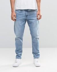 Светлые состаренные суженные джинсы G-Star Type C 3D 85