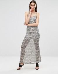 Шифоновое платье макси на бретельках Twin Sister - Zebra