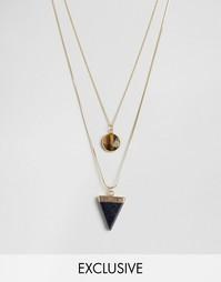 2 ожерелья с треугольником и камнем Designb - Золотой