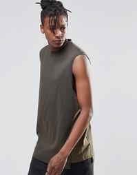 Oversize-футболка без рукавов цвета хаки с контрастными вставками ASOS