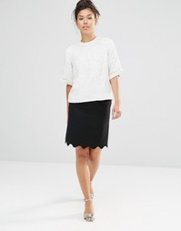 Мини-юбка с фактурной отделкой по краю The WhitePepper - Черный