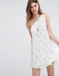 Платье на одно плечо с пайетками Free People - Слоновая кость, комбо