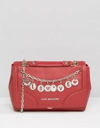 Кожаная сумка на плечо с подвесками Love Moshino - Rosso