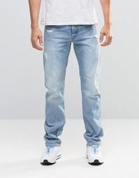 Светлые состаренные прямые джинсы G-Star Attack 90