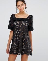 Платье с кружевом и оборками For Love and Lemons Sonya - Черный