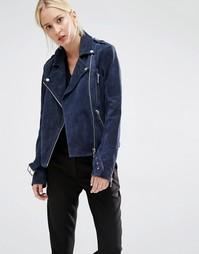 Темно-синяя замшевая байкерская куртка Gestuz Daya - Темно-синий