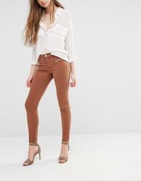 Зауженные брюки с молниями J Brand Miranda - Темно-коричневый