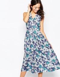 Платье миди с перекрестным кроем спереди и цветочным принтом Closet