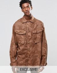 Рубашка навыпуск с камуфляжным принтом Reclaimed Vintage - Коричневый