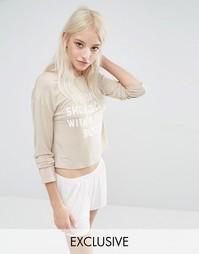 Пижамные кроп-топ и шорты с принтом Pause Sunday Adolescent Clothing
