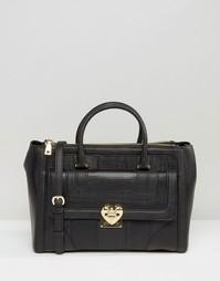 Фактурная сумка-тоут Love Moschino - Черный