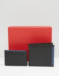 Подарочный набор из кожаных бумажника и визитницы Hugo Boss - Черный