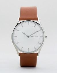 Часы со светло-коричневым кожаным ремешком Skagen SKW6219 - Рыжий
