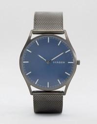 Серые часы с узким сетчатым ремешком Skagen SKW6223 - Серый