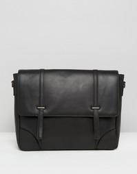 Кожаная сумка‑сэтчел с металлическими застежками ASOS - Черный