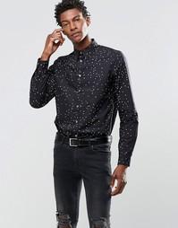 Рубашка слим с принтом сердечек Paul Smith - Черный