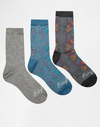 3 пары носков с серым и сине‑зеленым принтом Ruby Rocks - Серый