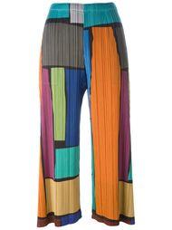 укороченные брюки дизайна колор-блок Pleats Please By Issey Miyake