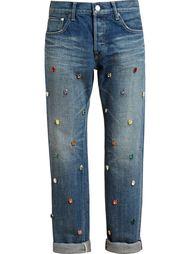 джинсы с отделкой из разноцветных кристаллов Tu Es Mon Tresor