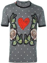 футболка с принтом сердца и роз Dolce & Gabbana