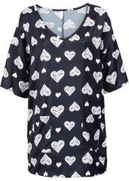 Блузка в стиле оверсайз (цвет белой шерсти с рисунком) Bonprix