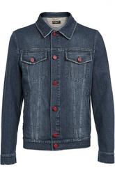 Джинсовая куртка с контрастными пуговицами Kiton