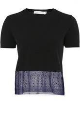 Кашемировый укороченный пуловер с полупрозрачной вставкой Victoria Beckham