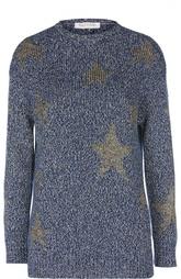 Хлопковый пуловер прямого кроя с принтом в виде звезд Valentino