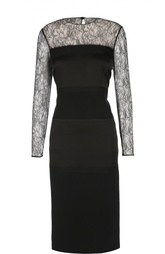 Приталенное платье с кружевной отделкой Ralph Lauren