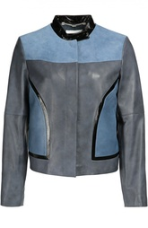 Кожаная куртка прямого кроя с контрастной отделкой Escada Sport