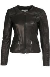 Приталенная кожаная куртка с круглым вырезом и декоративной отделкой HUGO BOSS Black Label