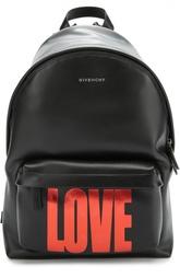 Кожаный рюкзак с принтом LOVE Givenchy