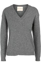 Шерстяной пуловер прямого кроя с V-образным вырезом Erika Cavallini
