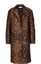 Пальто прямого кроя с карманами и фактурной отделкой Dries Van Noten