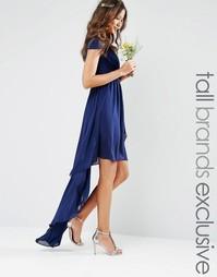 Платье с асимметричным подолом TFNC Tall - Темно-синий