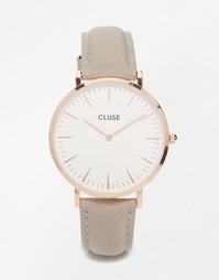 Часы с серым кожаным ремешком и корпусом под розовое золото Cluse La B