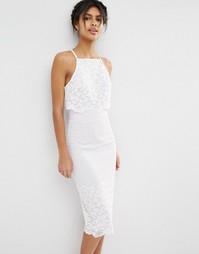 Платье миди с укороченным топом и цветочным рисунком ASOS - Белый