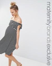 Полосатое приталенное платье для беременных с широким вырезом Bluebell Bluebelle Maternity