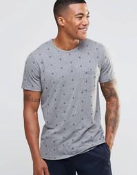 Облегающая футболка с принтом якоря Abercrombie & Fitch - Серый