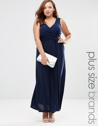 Платье макси размера плюс с запахом спереди Goddiva Plus - Темно-синий