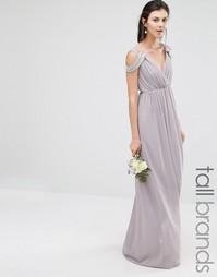Платье макси с открытыми плечами и запахом TFNC Tall Wedding