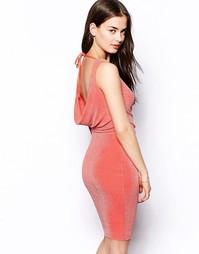 Платье с блестками и драпированным вырезом на спине Jessica Wright Luc