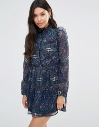 Платье с длинными рукавами, принтом пейсли и оборками Millie Mackintos