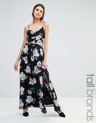 Платье макси с перекрестом и цветочным принтом Missguided Tall